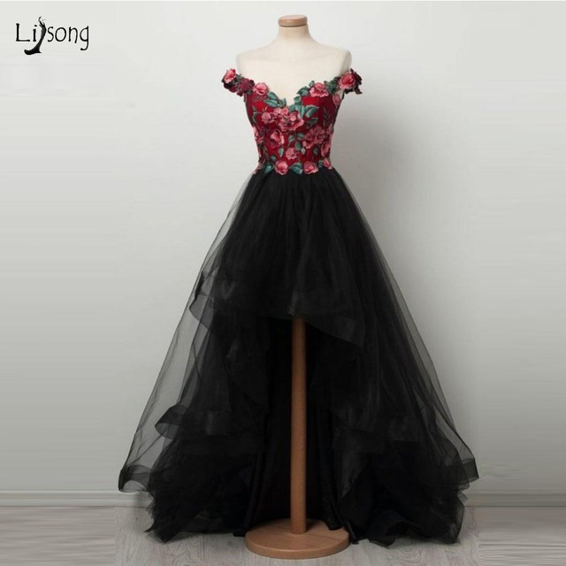 ebe55bfbe0d Chic 2019 Floral Black High Low Prom Dresses V-neck Off Shoulder Ruffles  Long Prom Gowns Fashion Party Dress Vestido De Festa