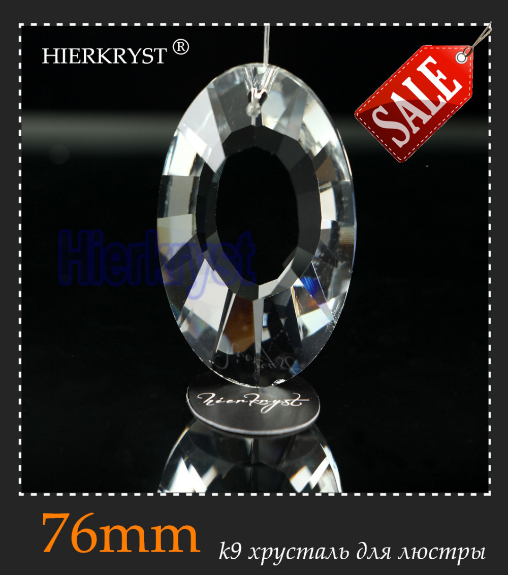 HIERKYST 1 Pc K9 Glass Crystal Prisms Pendants Chandeliers Parts Lustres Rainbow Lamp Lighting Hang Drops 76mm 3