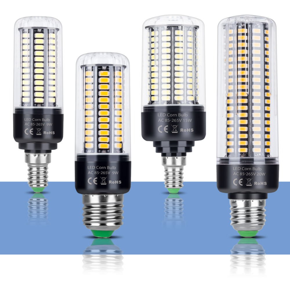 E14 LED Bulb Corn Lamp E27 220V LED Corn Light Bulb 110V Led Bombillas AC85~265V 5736 SMD 3.5W 5W 7W 9W 12W 15W 20W Lampada 240V цена