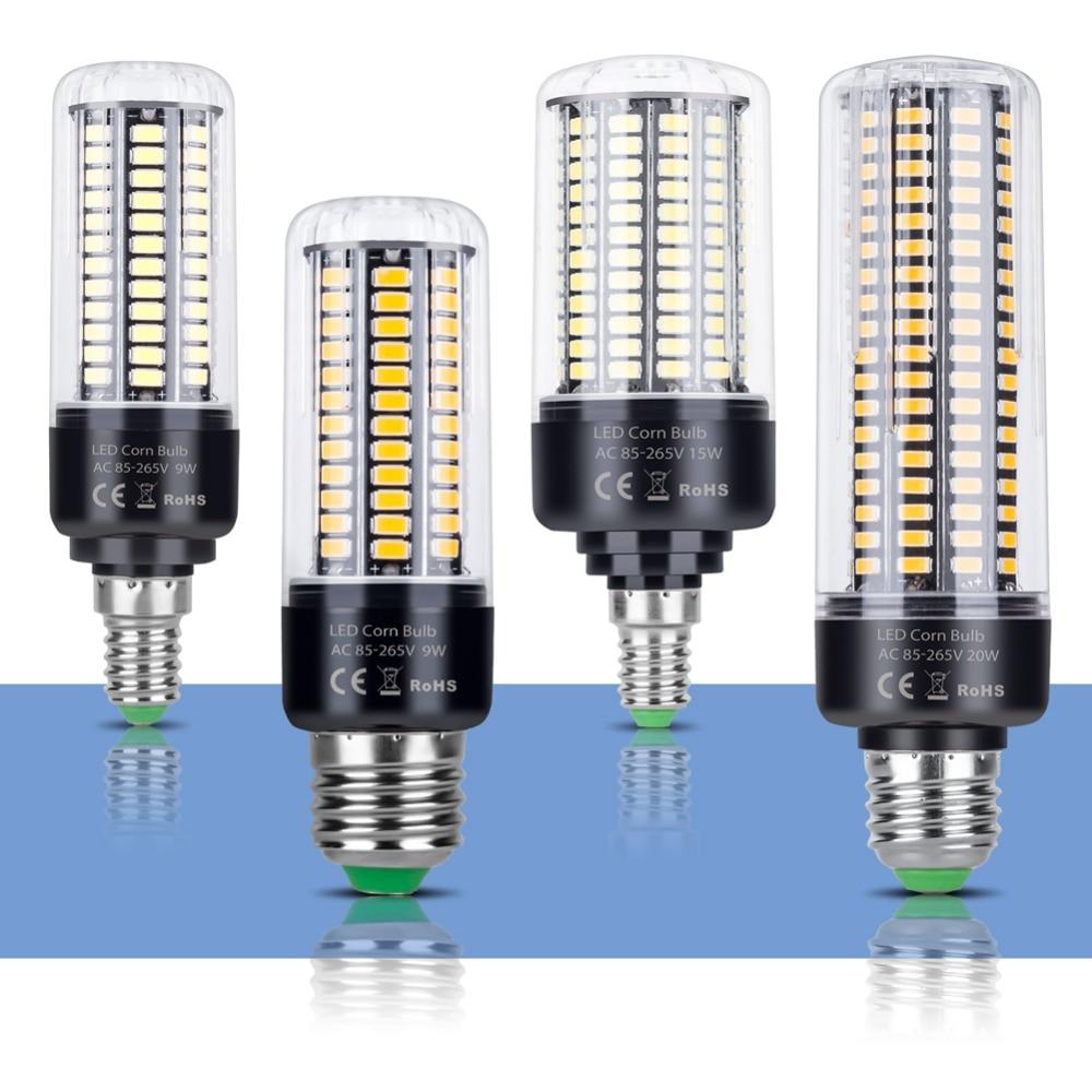 E14 LED Bulb Corn Lamp E27 220V LED Light Bulb 110V 3.5W 5W 7W 9W 12W 15W 20W lampada Energy saving Lighting 5736SMD No Flicker 20pcs waterproof driverless dimmable led downlight 5w 7w 9w 12w 15w ceiling lamp light lighting energy saving down lamp ac 220v
