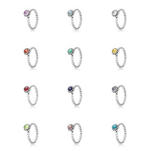 De enero a Diciembre de 100% Plata de Ley 925 anillo de Cumpleaños Anillo Compatible Con adecuados para pandora Joyas Anillos Para Las Mujeres anillos