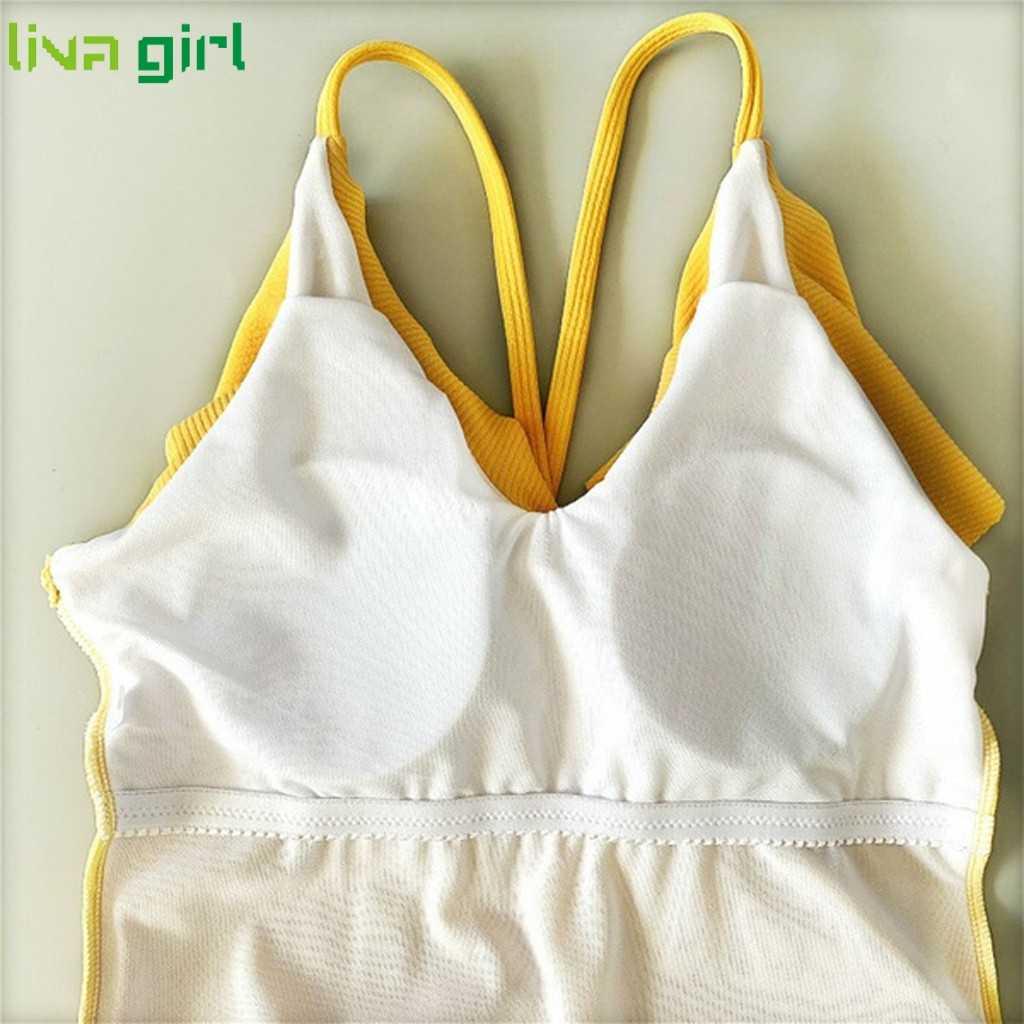 Liva فتاة واحدة قطعة ملابس السباحة الرجعية V الرقبة مبطن البرازيلي ملابس السباحة الساخن مجموعة تكدرت مخطط الشاطئ بيكيني الاستحمام ملابس السباحة 09