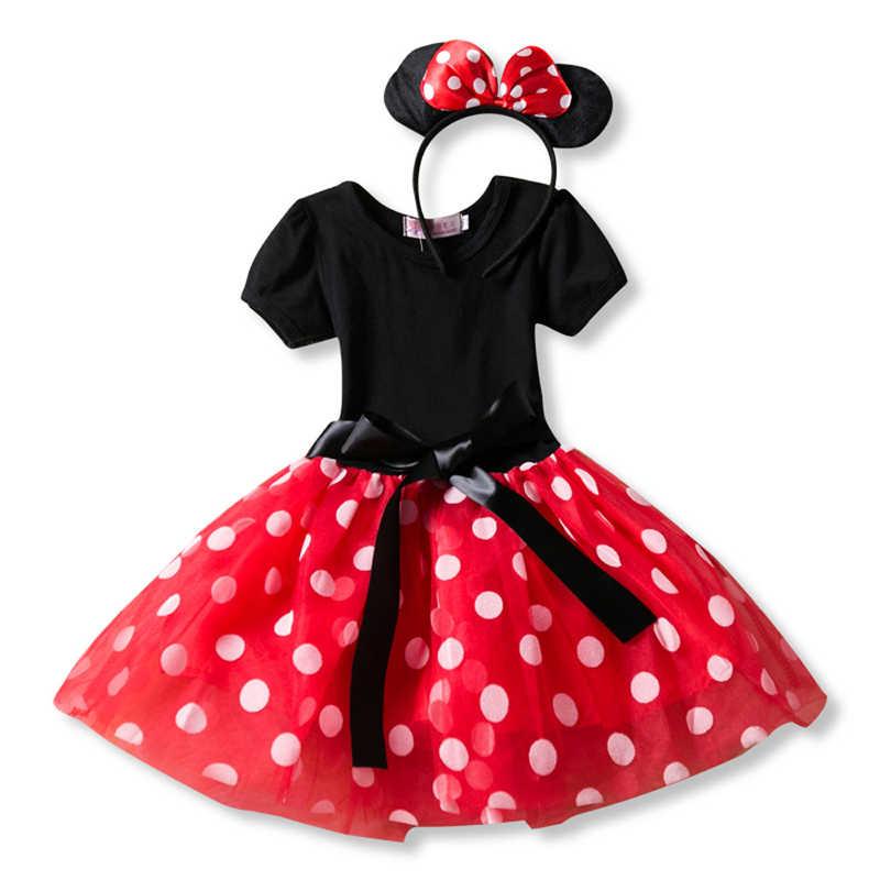 Летнее платье для маленьких девочек платья с Минни Маус для девочек, платье принцессы с Минни Маус детская одежда на день рождения Детский костюм