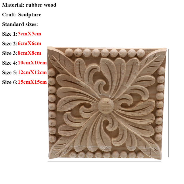 Vintage Unpainted Wood Carved Decal Corner Applique Frame For Home Furniture Wall Cabinet Door Decorative Wooden Miniature Craft 5
