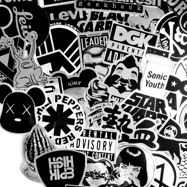 55 PCS Black And White Cool DIY Stickers For Skateboard Laptop Luggage Snowboard Fridge Phone Toy Styling Home Decor Stickers
