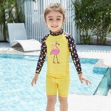 Children's swimwear female baby sunscreen swimwear split long sleeves small children's swimwear quick dry diving suit