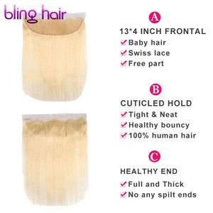 Image 2 - Bling cabelo 613 loira em linha reta fechamento do cabelo brasileiro 13x4 fechamento frontal do laço midlle/livre/três parte 100% remy cabelo humano