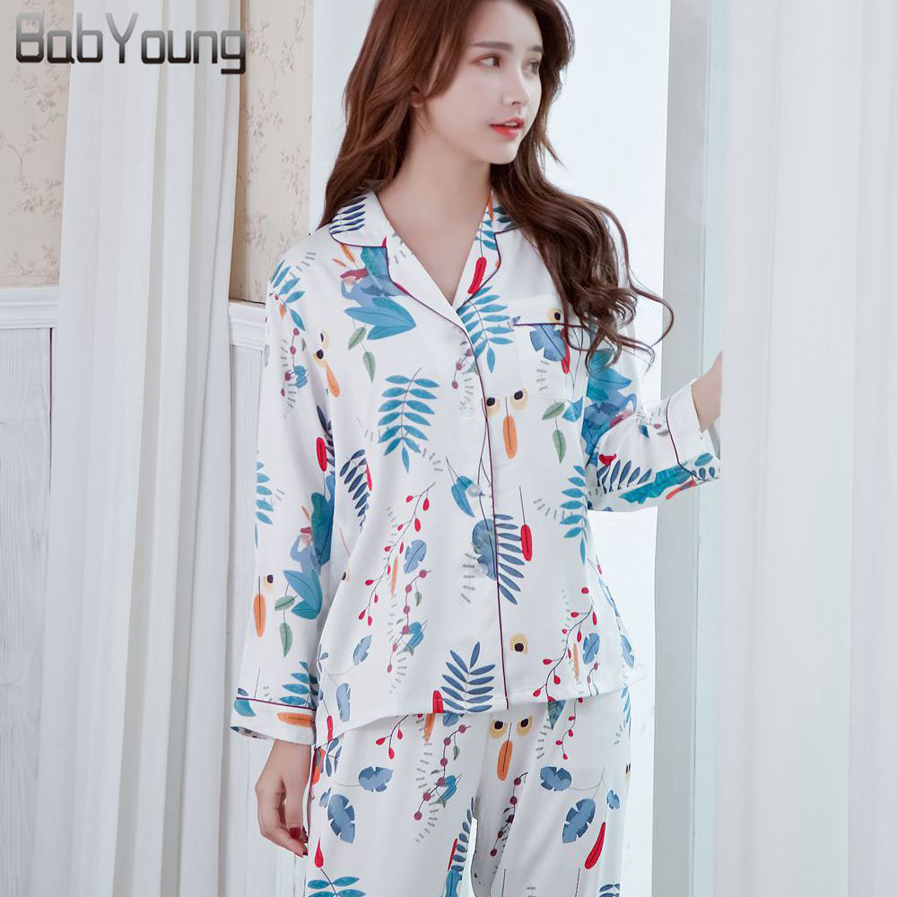 BabYoung Summer Pyjamas Satin Silk Women   Pajamas     Sets   Pijamas Mujer Leaf Print Femme Long Sleeve Sleepwear Female Homewear