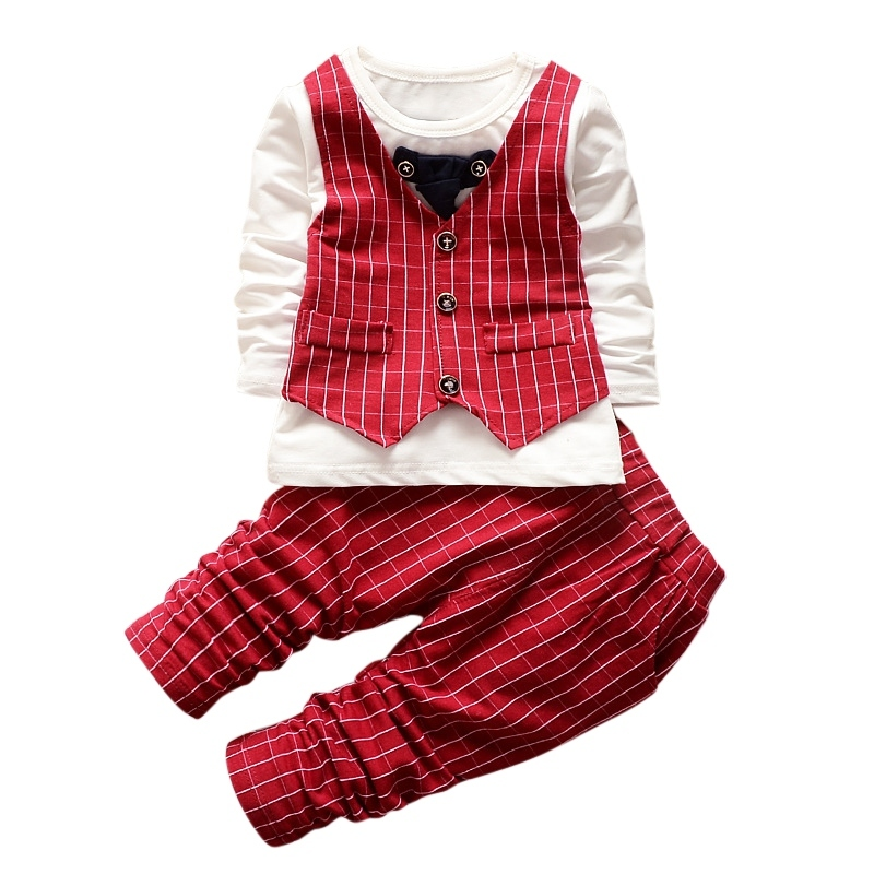 New Formal Baby Boys Suit Long Sleeve Striped Tops Jacket And Pants 2Pcs Children Girls Gentleman Cotton Outfits Kids Tracksuits 2pcs boy kids long sleeve tops pants nightwear sleepwear pajama pyjamas outfits