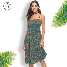 Ladies Beach Dress Short Sleeveless Green Summer Dresses Chiffon High Waist Green Floral Print Vestido 2018 Casual Sundress