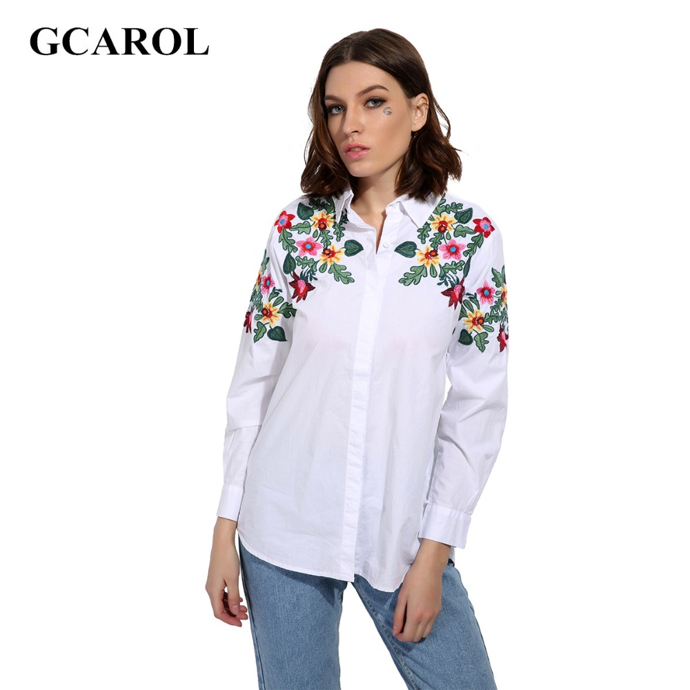 GCAROL 2017 Women Embroidry Floral Blouse Turn-Dowm Collar White Floral Shirt Oversize OL Fashion High Quality Tops FOr 4 Season