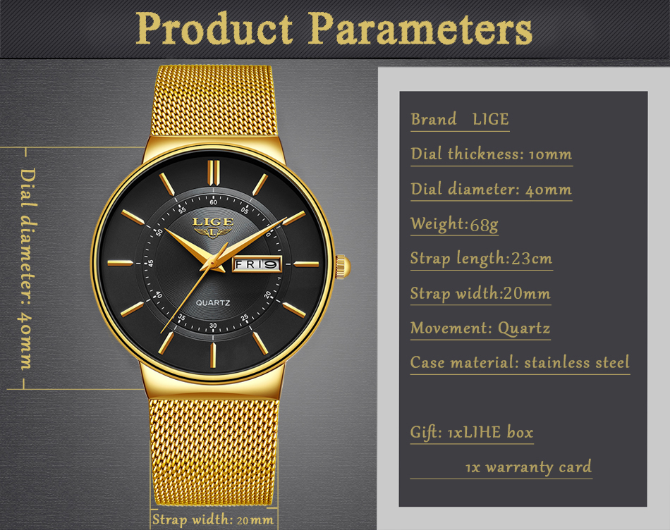 HTB1XQ0Id21H3KVjSZFBq6zSMXXa4 Relogio Masculino 2019 LIGE New Mens Watches Top Brand Luxury Ultra Thin Quartz Watch Men Steel Mesh Strap Waterproof Gold Watch