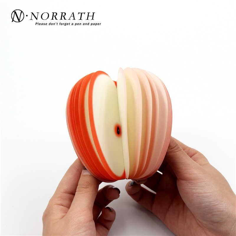 NORRATH Kawaii لطيف القرطاسية الفاكهة ملاحظة لوحات مذكرة المحمولة خدش ورقة المفكرة آخر لزجة التفاح شكل مكتب المدرسة هدية