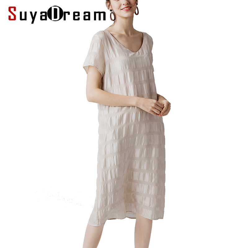 WomenDress 50%Real Silk 50%Linen Short Sleeved Dresses for Women V neck 2019 Summer Mid-Calf Length Dress Beige
