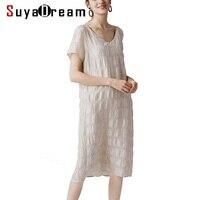 WomenDress 50%Real Silk 50%Linen Short Sleeved Dresses for Women V neck 2019 Summer Mid Calf Length Dress Beige
