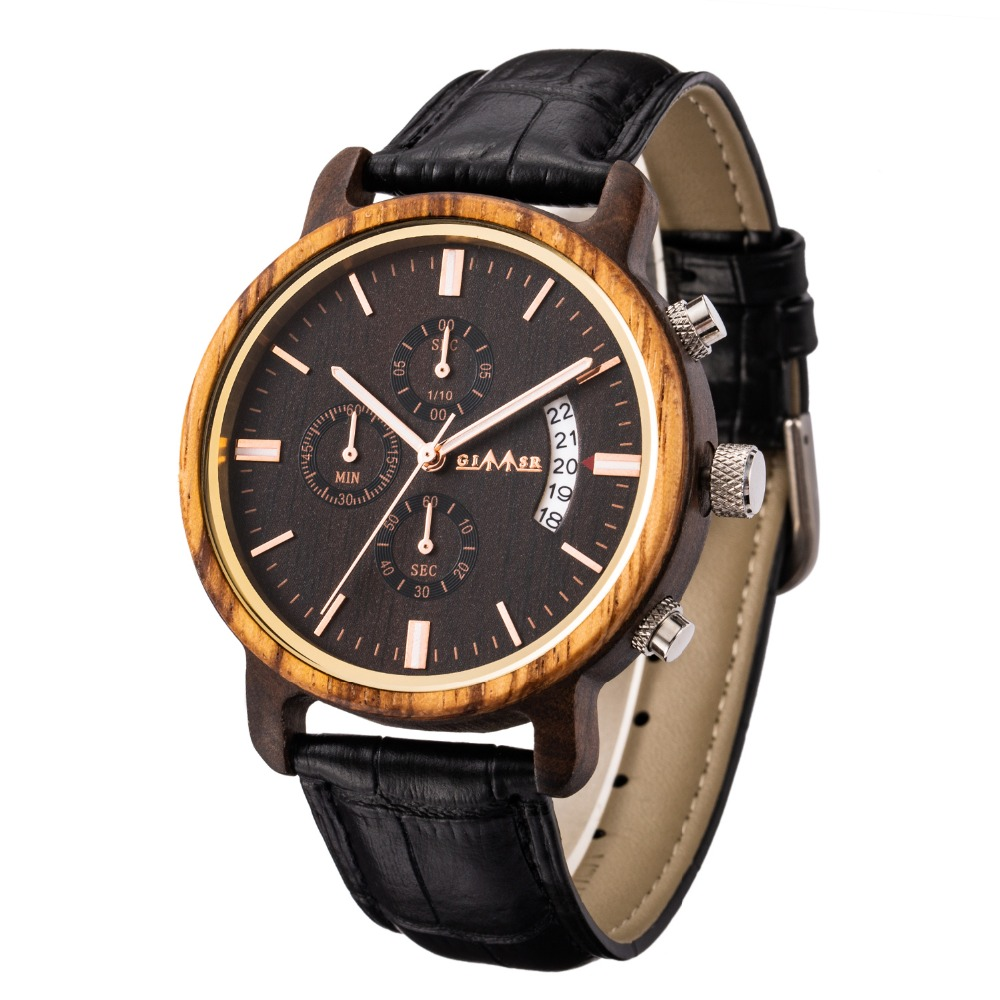 Reloje Big dial GIMSR Men Wood Watch Male Leather Automatic date Quartz Wooden Watches Mens Luxury Brand Clock Relogio Masculino pinbo simulation wooden reloje quartz men watches casual wooden color leather strap watch wood male wristwatch relogio masculino