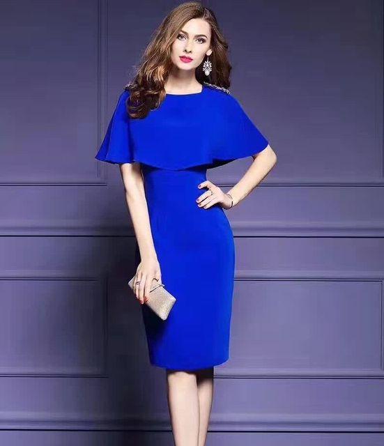 new concept 3e702 92e11 US $84.68 |Abiti Per Le Donne di Colore Solido Mantello Maniche Corte  Vestito Sottile Elegante Vestito Casuale bordare etero estate vestiti dalle  ...