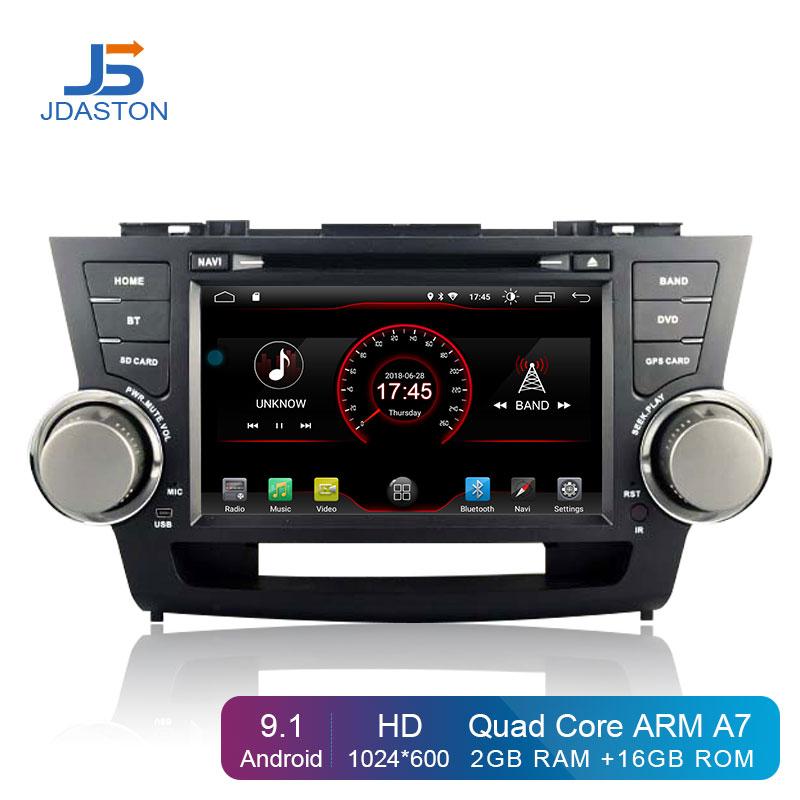JDASTON Android 9 1 Car DVD Player For Toyota Highlander 2009 2013 2 Din Car Radio