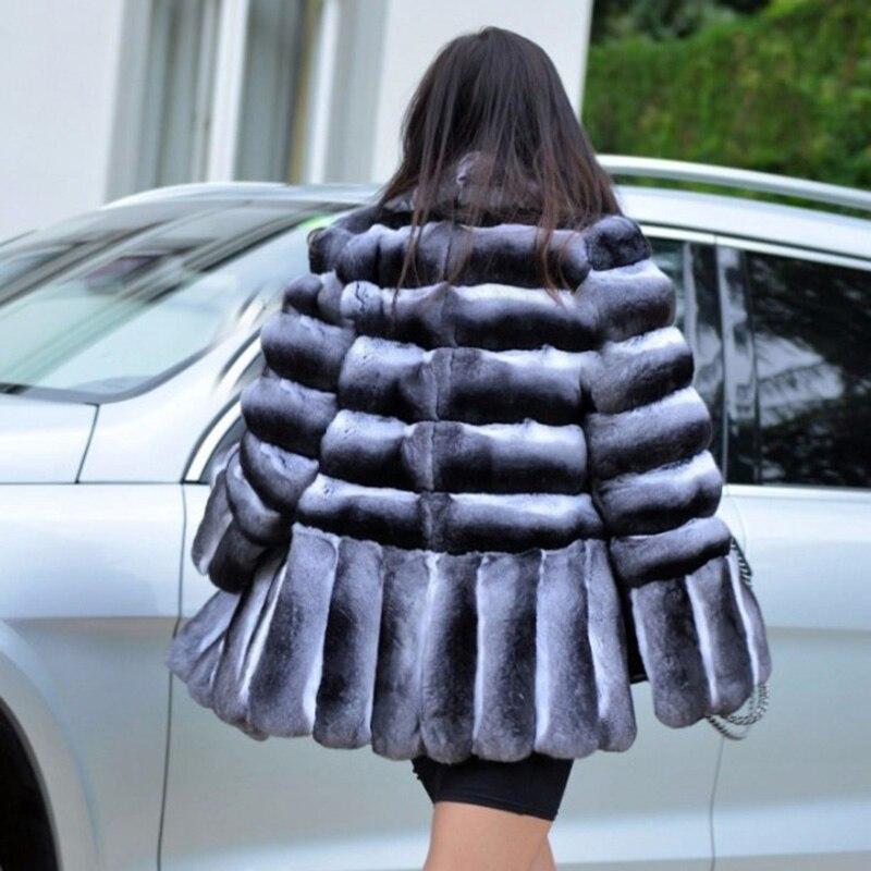 Женская Шуба с кроличьим мехом BFFUR, тонкая теплая Повседневная куртка из цельной кожи с натуральным мехом на зиму 2018