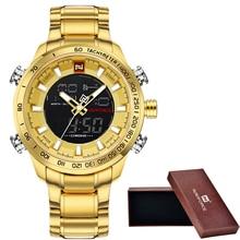 Для Мужчин's NAVIFORCE Элитный бренд спортивные часы Для мужчин двойной светодиодный дисплей цифровой Водонепроницаемый полный Сталь кварцевые мужские часы настенные часы + происхождения коробка