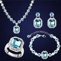 Sistemas de La Joyería de lujo Elegante Cyrstals De Swarovski Pendiente Colgantes Collares Pulseras Anillos Para Las Mujeres Joyería de La Boda Set