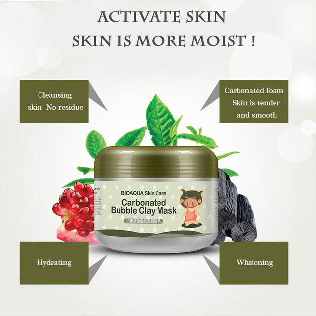 BIOAUQA Carbonated Bubble Clay Korean Mask for the Face Tony Moly Repair Face Masks Moisturizing Whitening Hydrating Face Care
