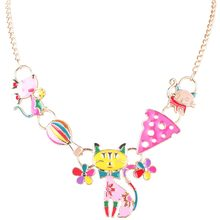 Bonsny Statement Necklace Cat Enamel Alloy Long Chain Pendants 2016 New Jewelry For Women Collares Accessories(China)