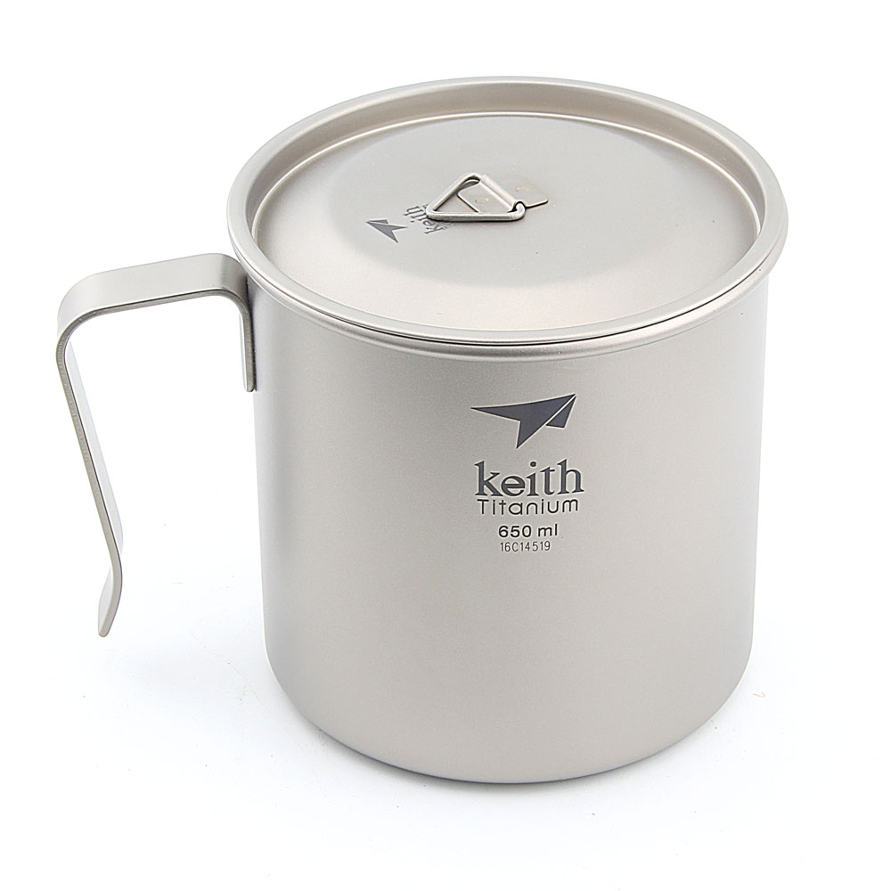 Keith Ti3268 Titanium Cup Titanium Coffee Cup single-walled With Cover Ultralight Portable Tableware 650ml слингобусы ti amo мама слингобусы сильвия