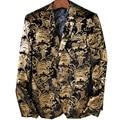 Rússia EUA Erope Importação High-grade Flanela Terno de Negócio Homens Verão Terno Padrão Ouro Domineering Personalidade Blazers Steewear
