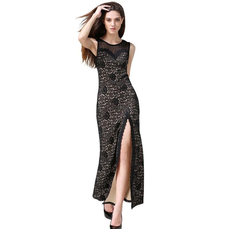 Nouveau Femmes long dress 2017 Printemps/Été Sexy Slim Moulante Robes Élastique Maigre Split Dress Bref Élégant Dress Vestidos
