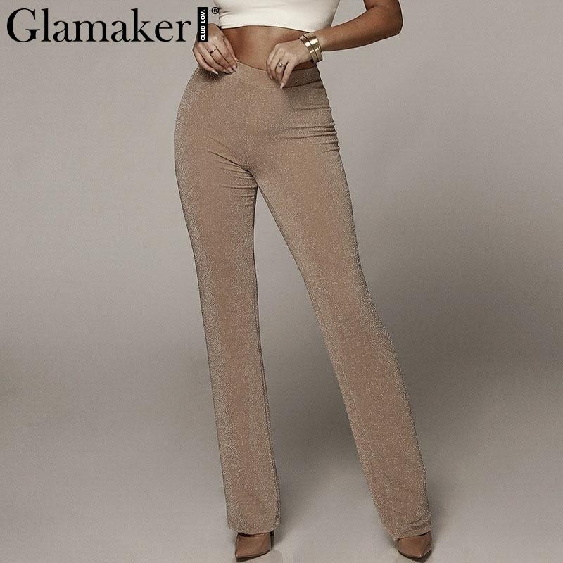 Glamaker Lurex bodycon sexy black ladies   pants   Women high waist khaki   capris   trousers Streetwear vintage elastic waist bottoms