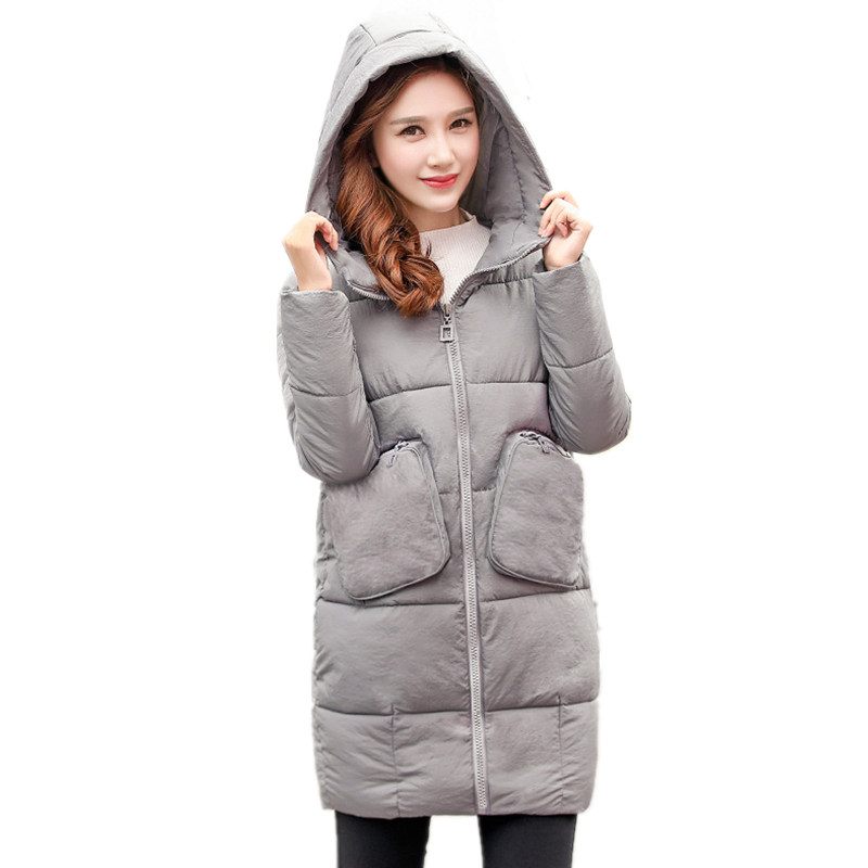 Winter Wadded Cotton Slim Mid-Long Large Size Solid Color Hooded Fashion Big Pockets Women Jacket  Dames Winterjas Parkas MZ1910 winter women parkas solid color mid long section large size thicken down cotton jackets fashion hooded slim cotton coats ly0254