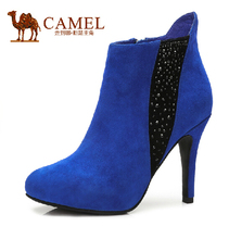 camel lady's sheep suede boots new elegant bun cephalic high with zipper boots