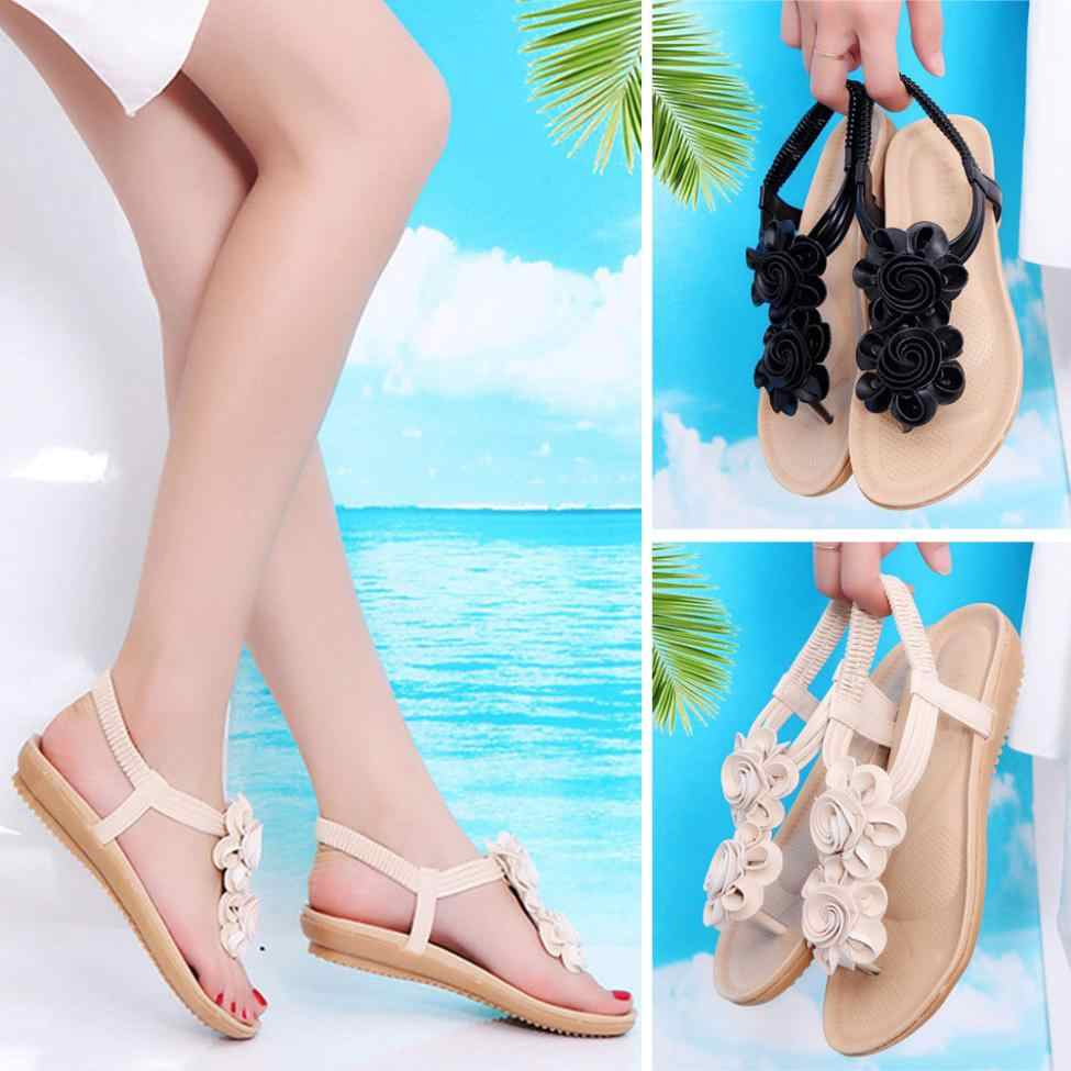 efbd47e53 Летние женские босоножки плоские римские цветок на плоской подошве  повседневная обувь для отдыха тапочки Гладиатор сандалии