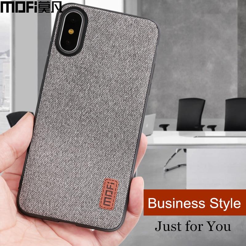 for iPhone X 8 7 6 6S Plus Case Mofi Fabric Splice Back Cover Case Silicone Phone Case for iPhone X 10 8 7 6 6S Business Coque