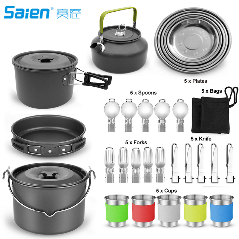 Camping Cookware and Pot Set 35 Piece Set with 5 Cups 5 Dishes Fork Knife Spoon