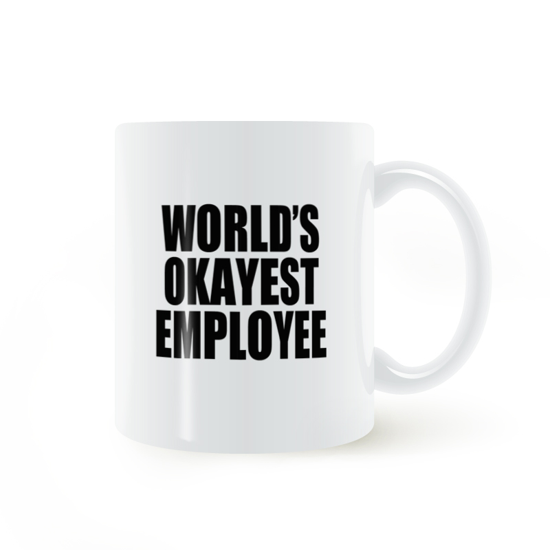 Worlds Okayest Employee Mug Coffee Milk Tea Ceramic Cup Creative DIY Gifts Shop Mugs 11oz C173