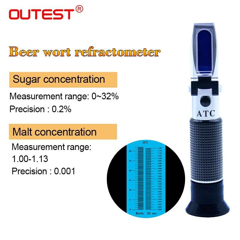Cerveza especial medidor de azúcar refractómetro Wort hidrómetro probador vino refractómetro de mano Malta 1,0 ~ 1,13, azúcar 0 ~ 32% RZ129