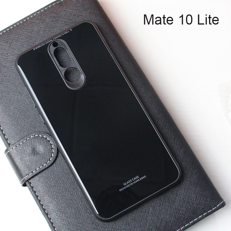 For Huawei Mate 10 Lite Case Luxury Tempered Glass Back Phone Cover For Huawei Mate 20 Lite Case Hybrid Shockproof Hard Housing in Fitted Cases from Cellphones Telecommunications