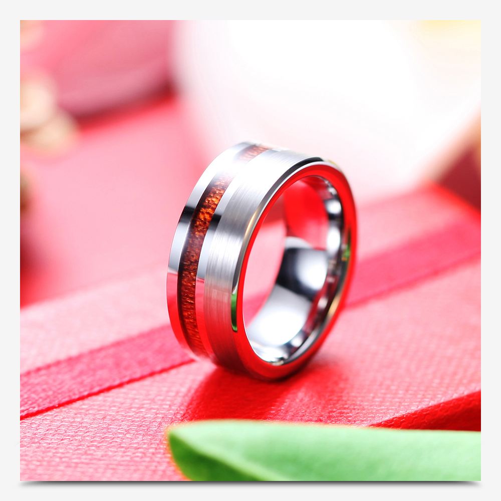 Aliexpress.com : Buy 8mm Mens Wood Real Tungsten Carbide Ring Men\'s ...