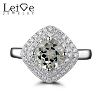 Leige Jewelry Double Halo Green Amethyst Ring Silver 925 Fine Jewelry Round Cut Gemstone Engagement Promise Rings for Women