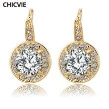 Chicvie серьги золотого цвета с камнями для женщин Кристалл
