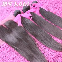 Ms lula Free Shipping Straight malaysian virgin hair with closure 1pc 4X4 size Lace closure with 3pcs hair weft for a full head