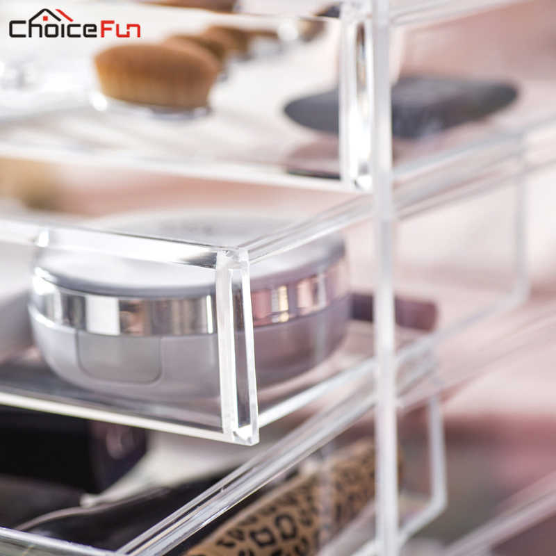CHOICE FUN Home Desktop Vanity Acrylic 4 Drawers Cosmetic Make Up Organizer Clear Plastic Makeup Storage Box For Jewelry