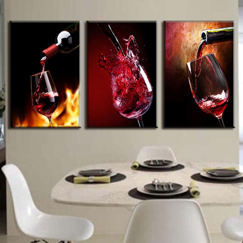 3 Pieces Modern Spray Canvas Painting Pour Red Wine Group Oil Paintings For Dining Room