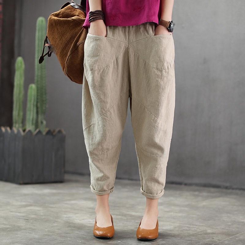 2019 Spring Summer Cotton Linen   Pants   Casual Elastic Waist Pockets Loose   Pants   Fashion Solid Ankle Length Women   Pants