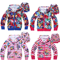 Chidlren boys girl's 2016 New Spring Autumn zipped Hoodies Sweatshirts Trolls coat kids long sleeved T-shirt sweater POKEMEN go