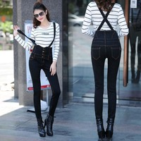 S XXL size Girl High waist Jeans With Belt women Skinny pencil Jeans Elastic Black Scratched jean pants Adjust Strap