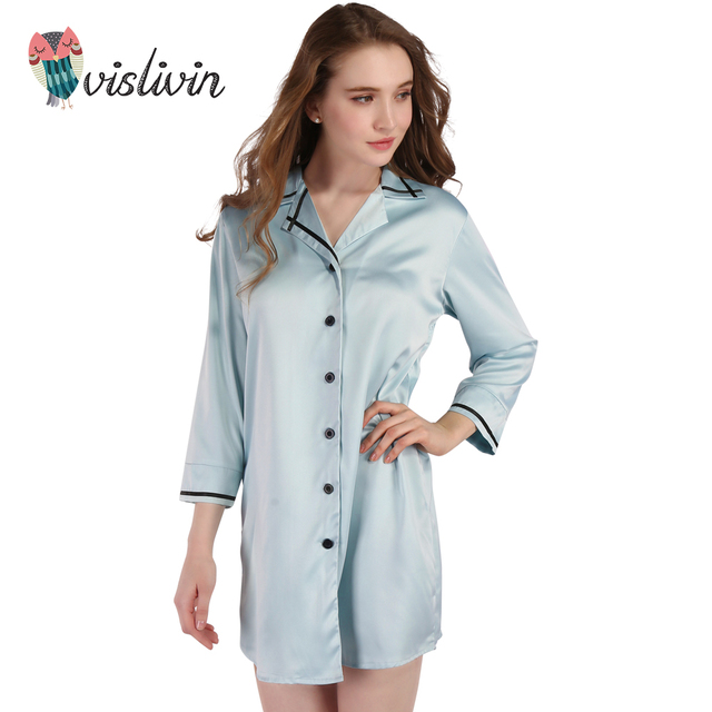 Vislivin Women Long Sleeve Nightdress Silk Dressing Gown Bath High ...