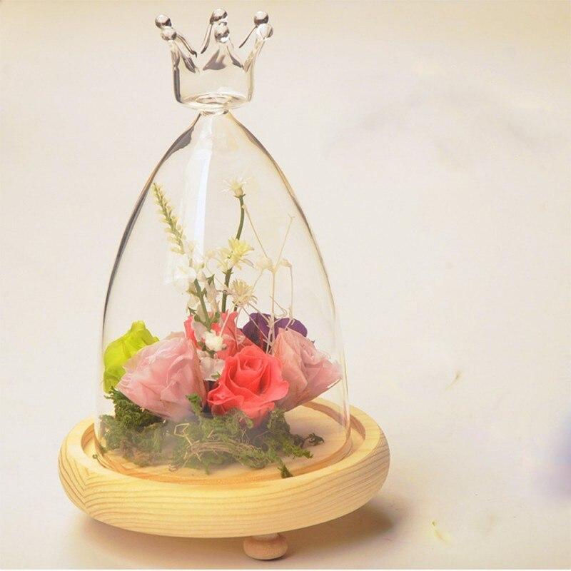 Прозрачная ваза Дисплей цветок бессмертный сохранение деревянный База дома Garden DIY Украшения
